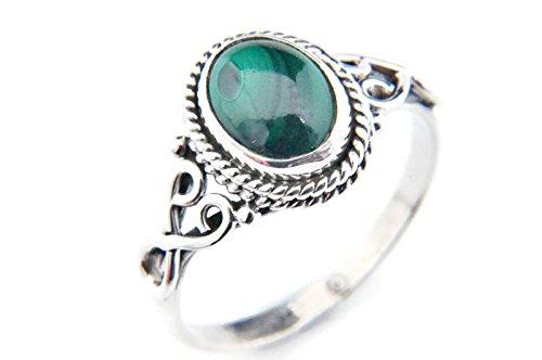 Ring Silber 925 Sterlingsilber Malachit grün Stein (MRI 42), Ringgröße:62 mm/Ø 19.7 mm