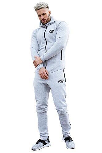 Aspire Wear Set Tuta da Uomo Grigio Lunare Felpa con Cappuccio e Pantaloni Palestra Fitness Tuta da Ginnastica Sport Stile Aderente da Jogging
