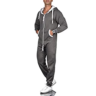 A. Salvarini Herren Jumpsuit Overall Jogging Anzug Trainingsanzug Jogger Sportanzug AS-039 [AS-039-Dunkelgrau-Gr.M]