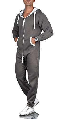 A. Salvarini Herren Jumpsuit Overall Jogging Anzug Trainingsanzug Jogger Sportanzug AS-039 [AS-039-Dunkelgrau-Gr.XXL]