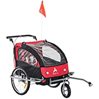 HOMCOM 2 in 1 Multifunctional Bicycle Child Carrier Baby Trailer Stroller Jogger Kit in Steel Frame