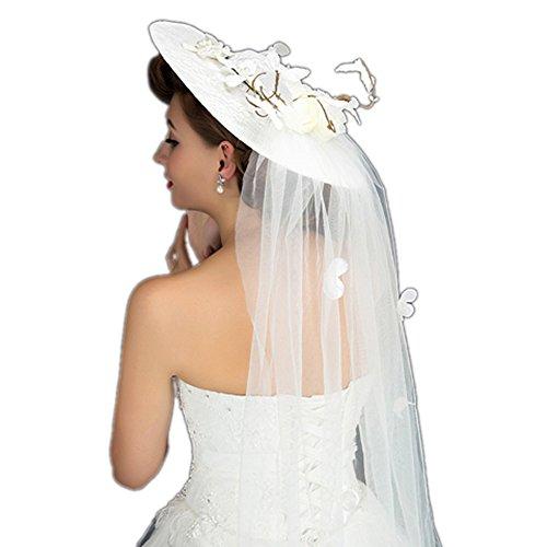 JASNO Braut Schleier Dome Blume Mesh Spitze Sonnenschirm Hut Weißen Britischen Stil Frauen Sommer Zubehör