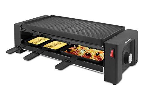 SUNTEC Pizza-Raclette-Grill RAC-8625 turbo raclette [2 in 1 für Pizza + Raclette dank 2 separaten Heizelementen, 8x kleine + 4x große Pfännchen, doppelseitige Grillplatte (20 x 40 cm), max. 1450 W]