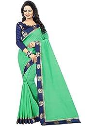 Vastrang Women's Chanderi Cotton Saree With Blouse Piece(1313PCKGRN_Green_Free Size)
