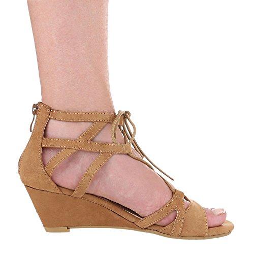 Damen Schuhe, 1342-KL, SANDALETTEN KEIL WEDGES MIT SCHNÜRUNG Camel