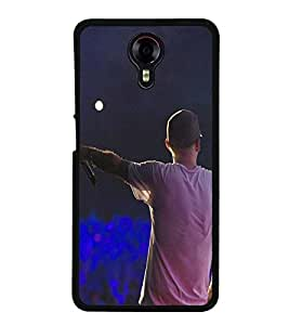 Fuson Premium 2D Back Case Cover Rock Star With Blue Background Degined For Micromax Canvas Xpress 2 E313::Micromax Canvas Xpress 2 (2nd Gen)