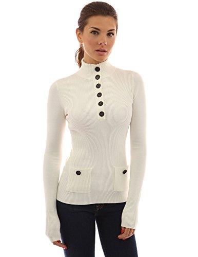PattyBoutik Damen V-Ausschnitt Pullover mit Knöpfen gerippt (elfenbein 36/S) (Elfenbein Pullover)