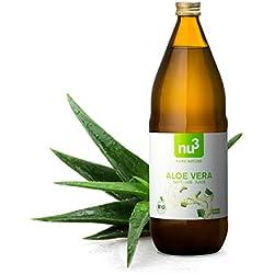 nu3 Bio Aloe Vera Saft - 1L in Glasflasche - Pflanzensaft aus den inneren Blattfilets - Reiner Saft aus biologischem Anbau - Unverdünnt & Vegan