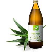 nu3 Zumo de Aloe Vera Orgánico | 1L en botella de cristal | Gel de aloe vera puro | Jugo de aloe vera 100% ecológico | Ideal para bebidas refrescantes | Detox, vegan, natural y sin diluir