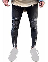 7bcef2a136c87 Internet Homme Sexy Patalon Straight Stylé en Fashion Jeans Skinny Denim  Pantalon Straight Biker Déchiré Troué