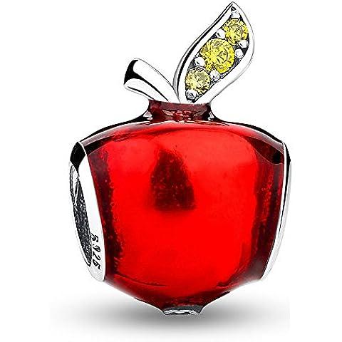 Pulseras Pandora Granos de esmalte rojo de Snow White para regalos de Navidad Plata esterlina 925 Aberturas Pendientes