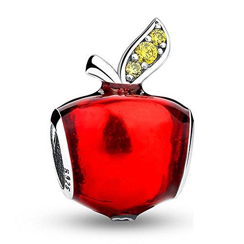 Apple compatibile con braccialetti Pandora neve bianco perline di smalto rosso regali di Natale per ragazze in argento Sterling 925e cristallo verde mela Openwork Ciondolo