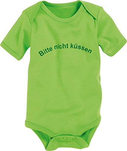 Schnizler Unisex Baby Body Kurzarm, Bitte nicht küssen, Oeko - Tex Standard 100, Gr. 86 (Herstellergröße: 86/92), Grün (grün 29)