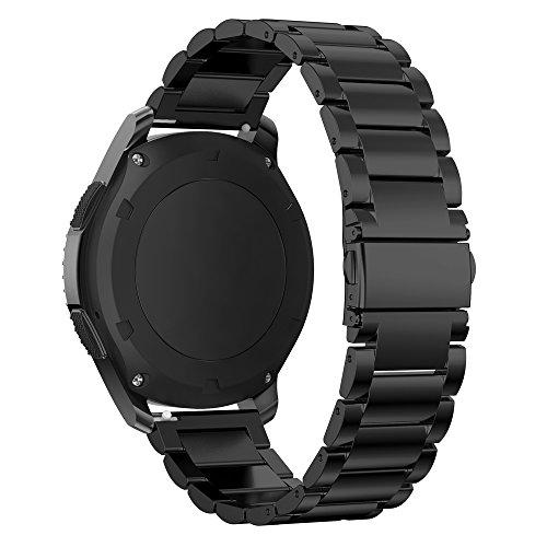 Für Gear S3 Armband Metall, iBazal Gear S3 Frontier/ Classic Armband 22mm Edelstahl Band für Samsung Gear S3 Frontier/ Classic SM-R760 [Klassischer Style] - Schwarz (Schwarz Stahl Armbanduhr Fossil)