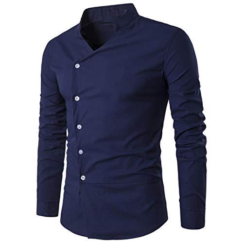 BaZhaHei Herren Langarmshirt Mode Persönlichkeit Männer Schlank Langarm-Shirt Top Bluse Persönlichkeit Schmale Passform Lange Ärmel Hemd