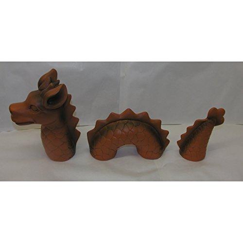 3-tlg. lustiger Deko Drachen Lindwurm 46x9x20cm Garten Figur Polystone Fantasy - 4