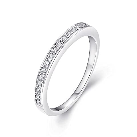Eternity Love Women's Halo Ring White Gold Plated Princess Cut CZ Crystal Engagement Rings Best Promise Rings Anniversary Wedding Bands for Lady Girl, JAR-001-8-UK
