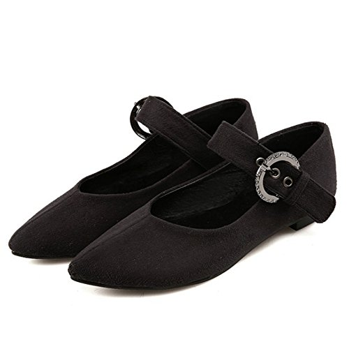 TAOFFEN Damen Mode Flache Schuhe Pointed Toe Pumps Mit Schnalle S Schwarz