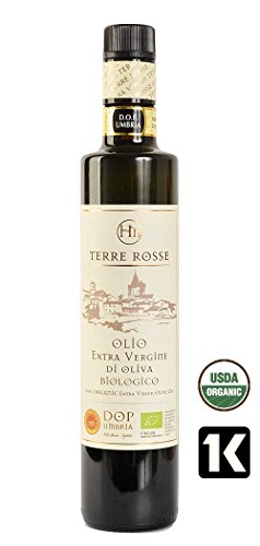 Olio extavergine di oliva biologico dop umbria colli assisi - spoleto terre rosse kosher-p - bottiglia da 500ml