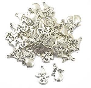 Zwischen Und Unterschied Modeschmuck Modeschmuck (veroda 50Stück Silber Made für ein Engel Engel Charms Anhänger für)