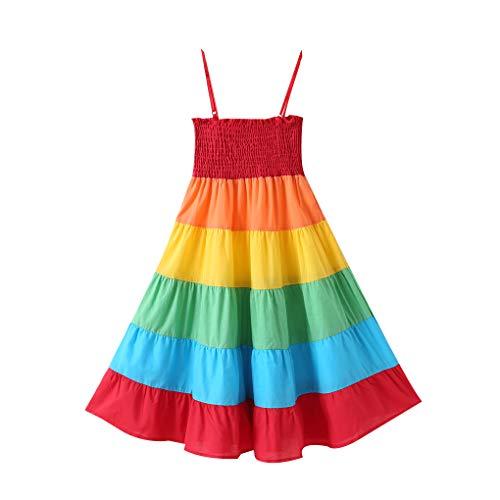Babysbreath17 Kinder Regenbogen-Splicing Farbe Lange Kleid-Mädchen-Kind-Kleinkind-Sleeveless Sommer-Baby-Riemen-Kleid Regenbogen 110 (Kleid Passt Kleinkind)