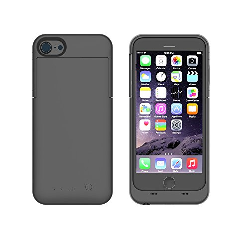 iPhone 7 Akku Hülle LifeePro 3200mAh Ultra Dünn Externer Akku Case Aufladbar Batterie Ladehülle Integrierten Ersatzakku Ladegerät Power Bank Backup Extra Pack Schutzhülle für iPhone 7 3200mAh Rose Gol Schwarz