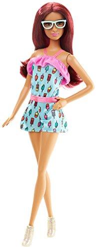 Mattel Barbie DGY60 - Modepuppe, Fashionista im Jump-Suit mit Eiscreme-Print - Barbie-puppen Ethnische