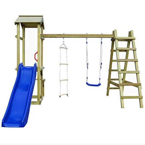 Galapara Spielturm Kletterturm Spielplatz mit Schaukel, Strickleiter, Blauer Wellenrutsche und viel Spiel-Zubehör | Garten Kletterturm | Spielplatz kinderschaukel | Klettergerüst | Spielgerät | Grün