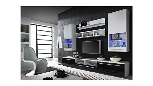 BMF LUNA Modern HIGH GLOSS WALL Entertainment UNIT / TV Stand Cabinet - PERFECT FOR Living Room / Bedroom / Studio Flat - QUALITY suitable for PLASMA / LED / LCD / OLED TVs!!! - DARK