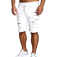SKY Hombres Jeans Casual Destruido Longitud rodilla pantalones rasgados Ocio cortocircuitos de los deportes de agua agujero M~L2