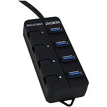Vemont USB Hub 3.0 con 4 puertos USB 3.0 Con Botón Como Piano Encender/Apagar Alta Velocidad Compatible con los Sistemas de Windows 10, 8.1, 8, 7, XP, Vista, Mac OS