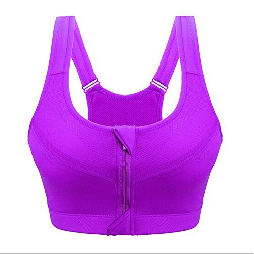 Qiao Nai (TM) Femme Soutien-gorge Sport Zip Lingerie Brassière Sans Armature Gilet Yoga Course Gym Jogging Violet