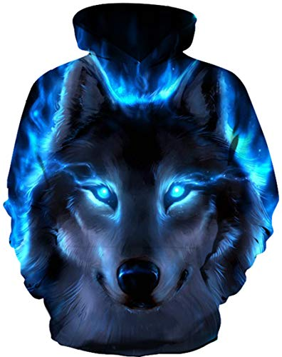 Ocean Plus Jungen 3D Kapuzenpullover Spaß Sweatshirt Hoodie mit Kängurutasche Sportlich Digitaldruck Pullover mit Kapuze (L (Körpergröße: 125-135cm), Blauäugiger schwarzer Wolf)