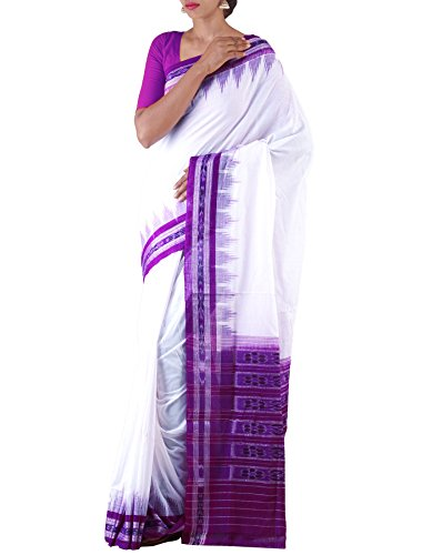 Unnati Silks Women White-Purple Pure Handloom Sambalpuri Cotton Ikat Saree(UNM22012)