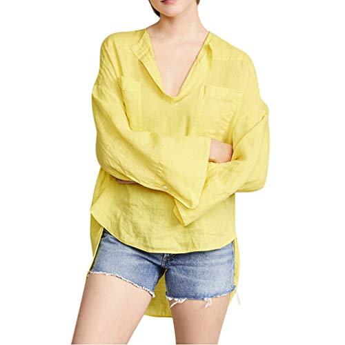 TEFIIR T-Shirt für Frauen, Oktoberfest, Leistungsverhältnis Large Size Casual Social Shirt top günstige Preisaktion Damen Lose Baumwolle Und Hanf Kreative V-Kragen Freizeithemd Top Bluse -