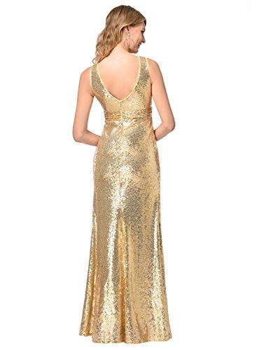 Frauen V-Ausschnitt Warp Kleid Night Out Kleid Partei lange Pailletten Kleid Gold M - 5