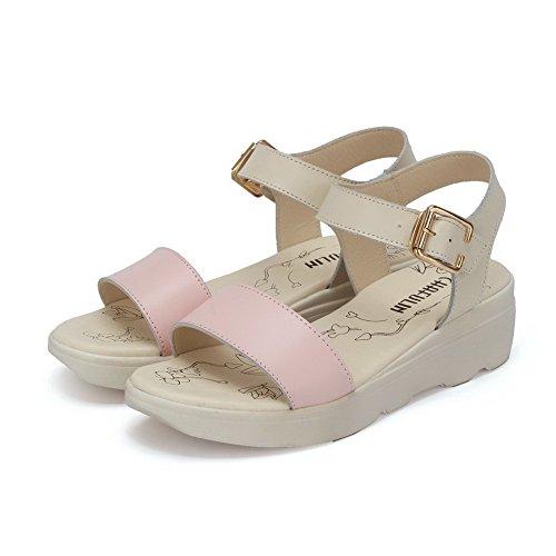 AalarDom Damen Schnalle Offener Zehe Mittler Absatz Gemischte Farbe Sandalen Pink