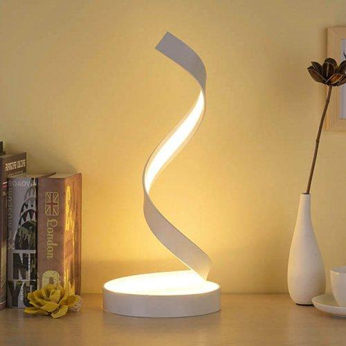 Modeen Lampada da tavolo a spirale LED lampada da tavolo curva LED design minimalista minimalista luce bianca calda max 40W lampada di modellazione acrilica LED per la perfezione per camera da let