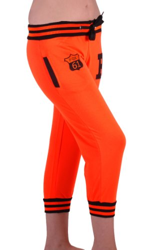 EyeCatch - Frauen Neon Capri Trainingshose Jogginghose grau Orange mit Schwarz Medium (Capris Womens Orange)