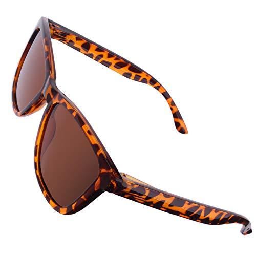 CGID Retro 80er Sport Designer Klassische Sonnenbrille für Männer und Frauen Polarisierte Sonnenbrille Brille Ultra Leicht 100% UV400 Schutz Glänzender Schwarzer Rechteck Rahmen Braune Linse MJ17