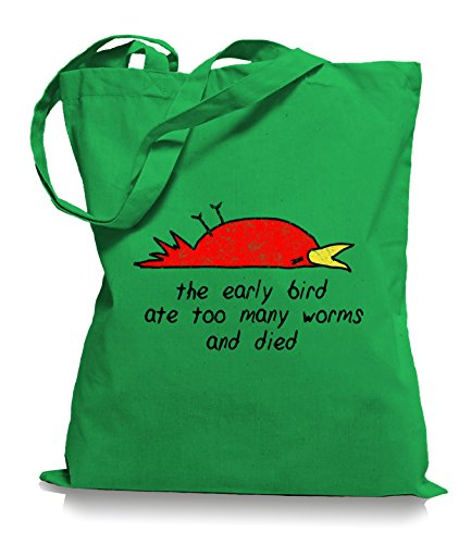 Ma2ca® The Early Bird Died - Jutebeutel Stoffbeutel Tragetasche / Bag WM101 Kelly