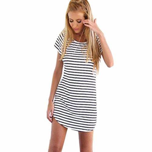 Ineternet Femmes V cou à manches courtes à rayures en vrac T-shirt Mini-robe Blanc