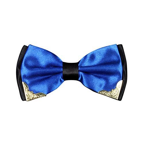 Goldatila Men's Ties, Cummerbunds & Pocket Squares Men's British Fashion Wedding Bow Two-tone Metal Corner Bow Tie -