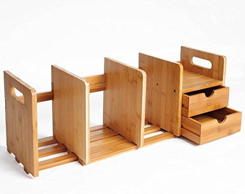 WOLTU RG9258br-a Bücherregal Schreibtisch Bambus Einstellbare Tischorganizer Schreibtischbox, Natur (Bambus Bücherregal)