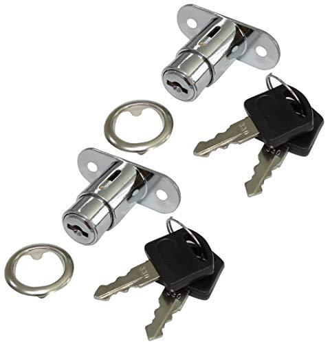 AERZETIX: 2 x Arretierungen Schlösser und Schlüssel für Schublade mit Knopf C41400