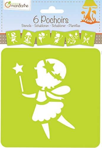 Avenue Mandarine 42839O Set (mit 6 Schablonen, 15 x 15 cm, geeignet für Kinder ab 3 Jahre, für Filz- und Farbstifte, Farben oder Farbbomben, Feen) 6er Pack (Deutsch Farbstifte,)