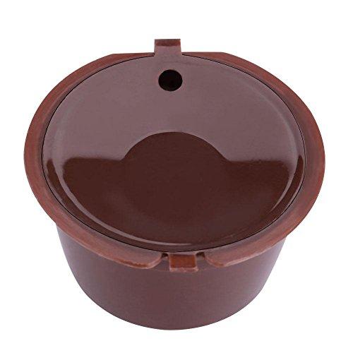 VBESTLIFE Food Grade PP + 304 Edelstahl Wiederverwendbare nachfüllbar Kaffee Kapsel Filter mit Löffel,5Pcs (Braun)
