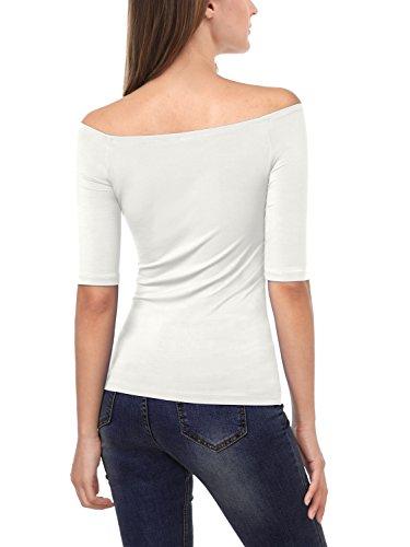 EA Selection Damen T-Shirt Schulterfrei Carmen-Shirt Bluse Tops Weiß