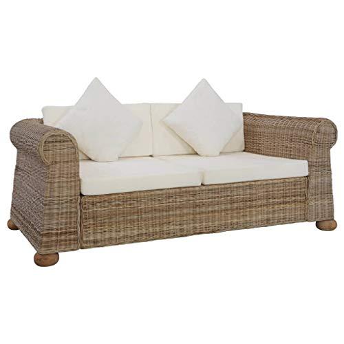 Festnight 2-Sitzer-Sofa mit Auflagen Natur Rattan Rattansofa Loungesofa Sitzmöbel Wohnzimmersofa Rattanmöbel mit 2 Sofakissen Sitzkomfort für Wohnbereich 155 x 78 x 67 cm