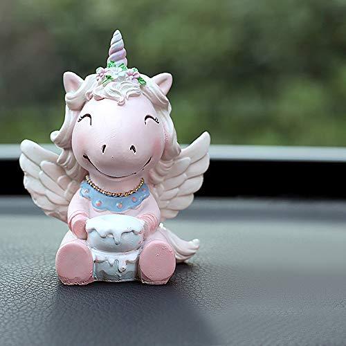 kgftdk Decorazione Cruscotto dell'automobile Decorazione Sveglia Resina Bambola Unicorno Auto Ornamenti Fatti A Mano Unicorno Figurine Decorazione del Fumetto Automobile Cruscotto